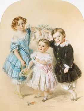 Portrait of three young children 1860