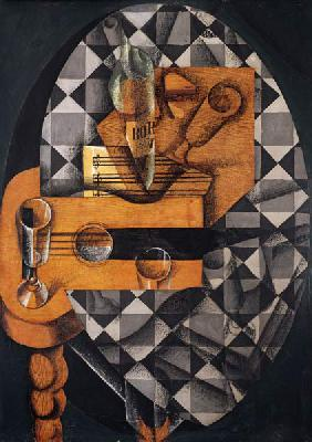 Guitar, Bottle, and Glass, 1914 (pasted papers, gouache & crayon on canvas)