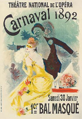 Advertisement for the 1st Carnaval masked ball at the Theatre National de l'Opera 1892