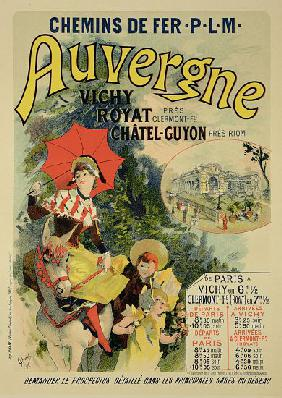Reproduction of a poster advertising the 'Auvergne Railway', France 1892