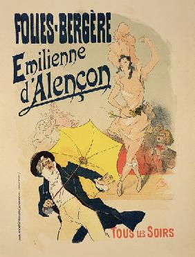 Reproduction of a poster advertising 'Emile d'Alencon', every evening at the Folies-Bergeres 1893
