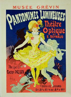 Reproduction of a Poster Advertising 'Pantomimes Lumineuses' at the Musee Grevin 1892