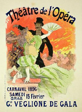 Reproduction of a Poster Advertising the 1896 Carnival at the Theatre de l'Opera 15th Febru