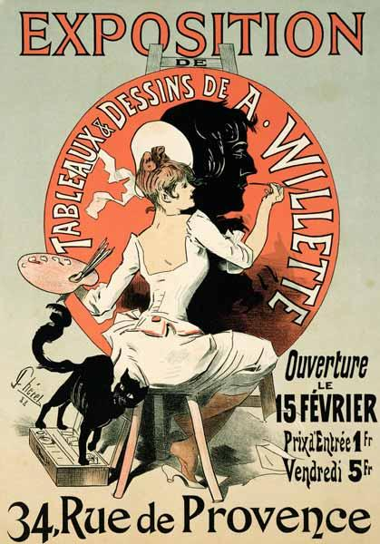 Reproduction of a poster advertising an 'Exhibition of the Paintings and Drawings of A. Willette (18 1888