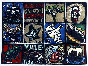 Christmas Card, 1999 (linocut and w/c on paper)