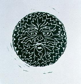 The Green Man, 1998 (linocut and paper)