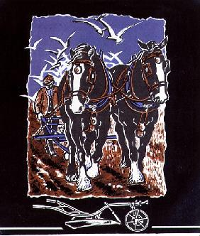 The Plough, 1997 (linocut and w/c on paper)