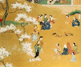 A Detail From An Eight-Leafed Screen In Sumi  Depicting a Cock Fight Beneath Cherry Tree Blossoms