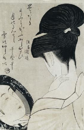 Young woman applying make-up, c.1795-96 (colour woodblock print) (see also 159179)