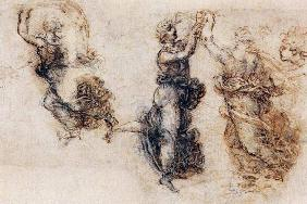Three dancing figures and a study of a head (sepia & black ink on linen paper) 1874