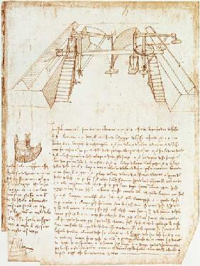 Facsimile of Codex Atlanticus 363vb Pulley System for the Construction of a Staircase (original copy 1503/4-07