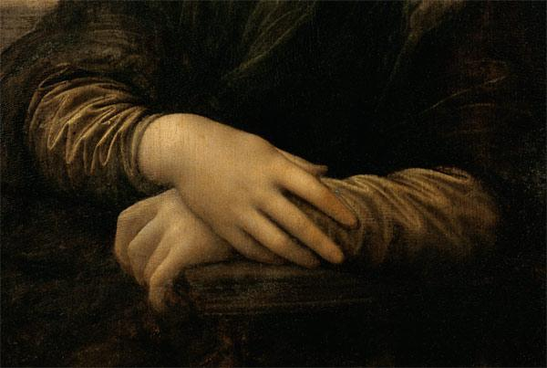 Mona Lisa, detail of her hands c.1503-06