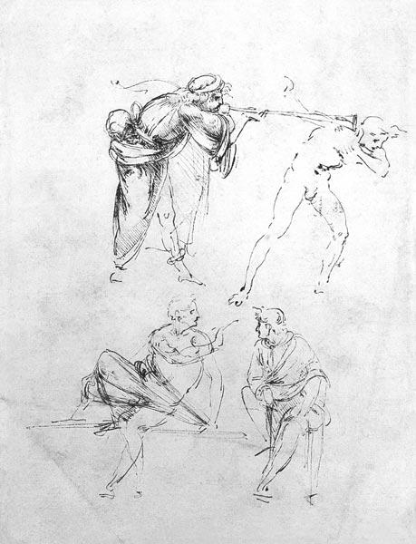 Study of a man blowing a trumpet in another''s ear, and two figures in conversation, c.1480-82 (pen  C15th