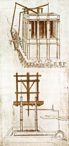 Facsimile of Codex Atlanticus 395v Hydraulic Water Pump for a Fountain (original copy in the Bibliot 1503/4-07