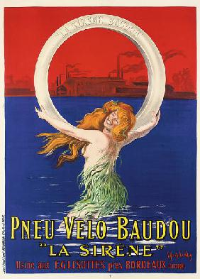 Poster advertising 'La Sirene' bicycle tires manufactured by Pneu Velo Baudou c.1920