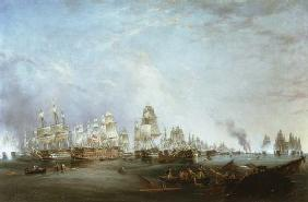 Surrender of the 'Santissima Trinidad to Neptune, The Battle of Trafalgar, 3pm 21st Octob