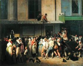 The Entrance to the Theatre de l'Ambigu-Comique before a Free Performance 1819