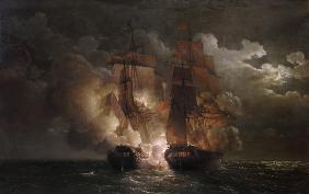 Battle Between the French Frigate 'Arethuse' and the English Frigate 'Amelia' in View of the Islands 7th Februa
