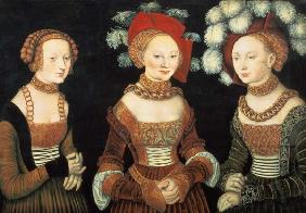 Three princesses of Saxony, Sibylla (1515-92), Emilia (1516-91) and Sidonia (1518-75), daughters of c.1535