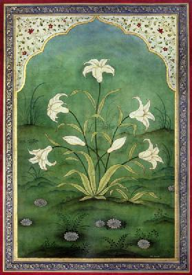 White Lilies (tempera on panel)