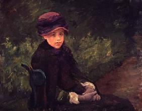 Susan Seated Outdoors Wearing a Purple Hat c.1881