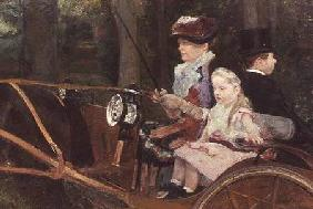 A woman and child in the driving seat 1881