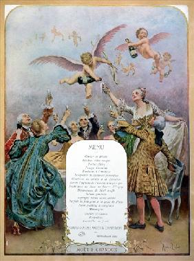 Ritz Restaurant menu, depicting a group of elegant 18th century men and women drinking champagne ser