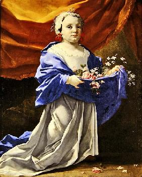 Young girl carrying flowers