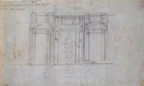Study of the Upper Level of the Medici Tomb, 1520/1 (black & red chalk on paper) 1601