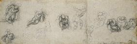 Study of Apostles, c.1550-55 (black chalk on paper) 1601