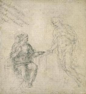 Study of the Annunciation, c.1560 (black chalk on paper) 1601