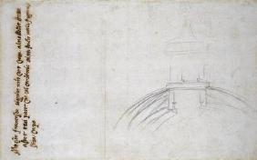 Study of the Lantern for St. Peter's, 1557 (black chalk, pen & ink on paper) 1601