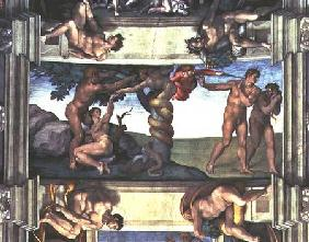 Sistine Chapel Ceiling: The Fall of Man and the Expulsion from the Garden of Eden, with four Ignudi 1510