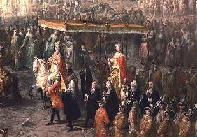 The coronation procession of Joseph II (1741-90) Emperor of Germany, in Romerberg 1764
