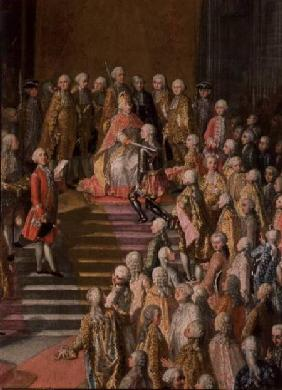 The Investiture of Joseph II (1741-90) Emperor of Germany in Frankfurt Cathedral, following his coro 1764