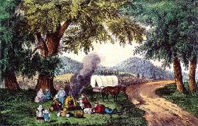 A Halt by the Wayside (print) 9:picnic; cauldron; sisters; pipe; covered wagon; settlers; American; 19th