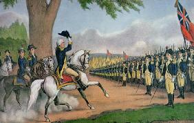 George Washington (1732-99) taking command of the American Army at Cambridge, Massachusetts, 3 July 19th