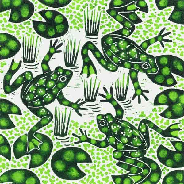Leaping Frogs, 2003 (woodcut)