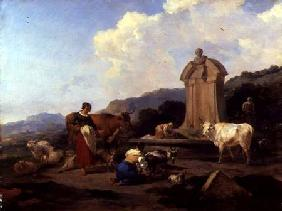 Roman Fountain with Cattle and Figures (Le Midi) c.1645-46