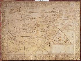Map of the Mantuan territory, carved in low relief (marble) 19th