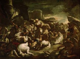 Semiramis in battle / Giordano painting