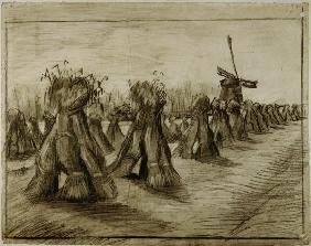 Van Gogh, Sheaves & Windmill /Draw./1885