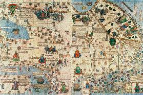 131-0058260/1 Catalan Atlas: Detail of Asia, by Jafunda and Abraham Cresques, 1375