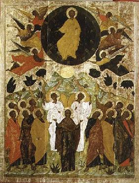 The Ascension of Our Lord, Russian icon from the Malo-Kirillov Monastery, Novgorod School 1543