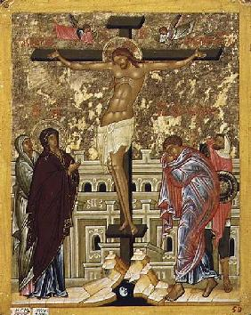 The Crucifixion of Our Lord, Russian icon from the Cathedral of St. Sophia 15th centu