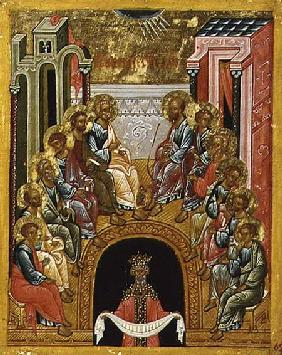 The Descent of the Holy Spirit, Russian icon from the Cathedral of St. Sophia 15th centu