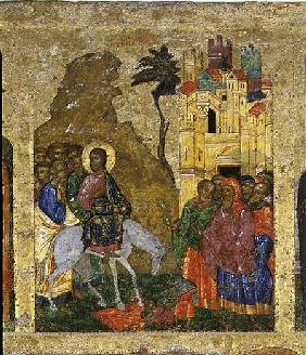 The Entry into Jerusalem, Russian icon from the iconostasis in the Cathedral of St. Sophia 14th centu