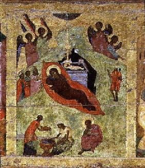 The Nativity of Our Lord, Russian icon from the iconostasis in the Cathedral of St. Sophia 14th centu