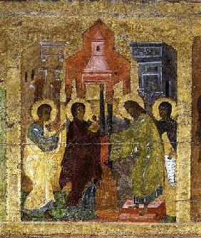 The Presentation in the Temple, Russian icon from the iconostasis in the Cathedral of St. Sophia 14th centu