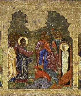 The Raising of Lazarus, Russian icon from the iconostasis in the Cathedral of St. Sophia 14th centu